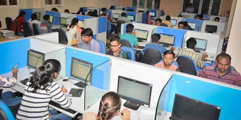 "Students writing online test during Short Course on ""NETWORK BIOLOGY"" offered by"