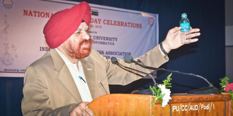 Our Vice Chancellor Prof. GURMEET SINGH, addressing the gathering on National Sc