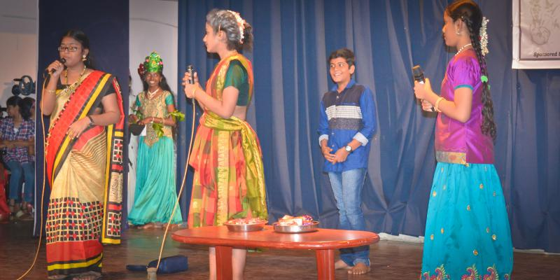 School students performing science fiction skit program during National Science